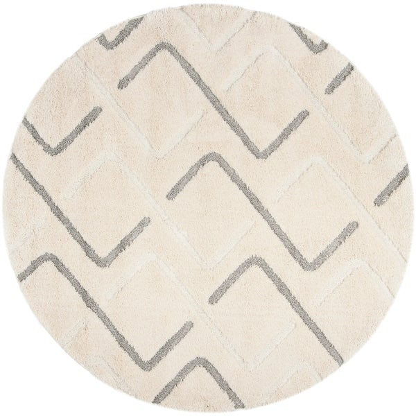 Safavieh Olympia Shag Cream/ Grey Polyester Rug - 6'7 Round