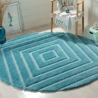 Safavieh Olympia Shag Blue Polyester Rug - 6'7 Round