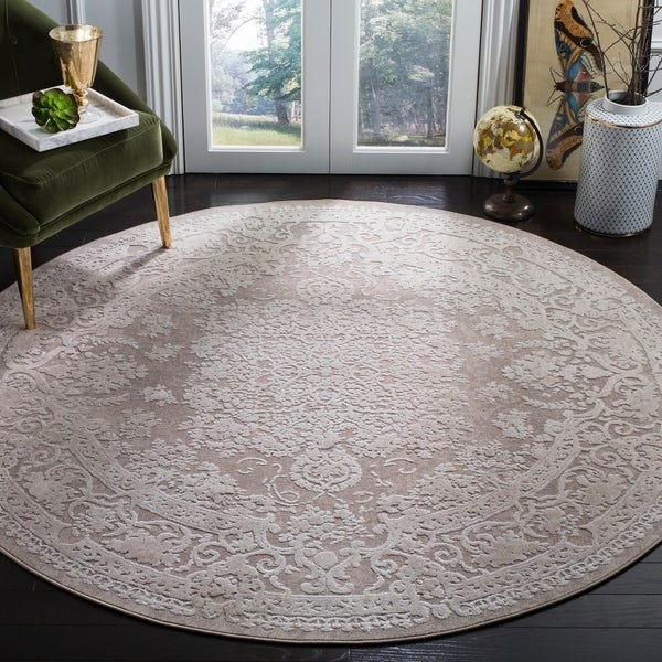 "Safavieh Reflection Beige/ Cream Polyester Rug - 6'7"" x 6'7"" round"