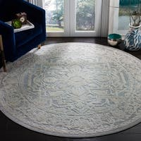 "Safavieh Reflection Light Grey/ Cream Polyester Rug - 6'7"" x 6'7"" round"
