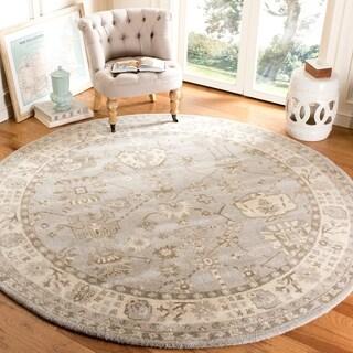 Safavieh Handmade Royalty Silver/ Cream Wool Rug (7' Round)