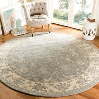 Safavieh Handmade Royalty Slate/ Cream Wool Rug (7' Round)