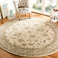Safavieh Handmade Royalty Cream/ Light Grey Wool Rug - 7' x 7' Round
