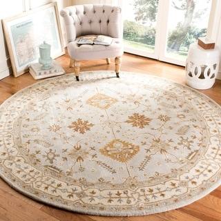 Safavieh Handmade Royalty Light Grey/ Cream Wool Rug (7' Round)