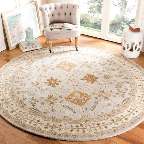 Safavieh Handmade Royalty Light Grey/ Cream Wool Rug - 7' Round