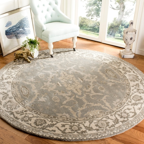 Safavieh Handmade Royalty Grey/ Cream Wool Rug - 7' x 7' Round