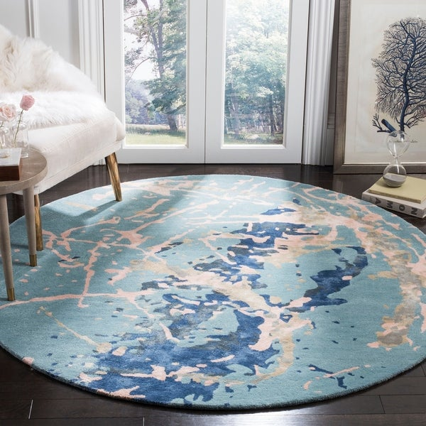 Safavieh Handmade Soho Blue/ Light Pink Viscose Rug - 6' Round