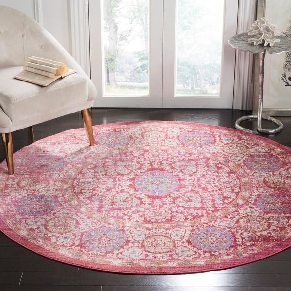 Safavieh Sutton Oriental Fuchsia Pink/ Ivory Rug - 6' Round