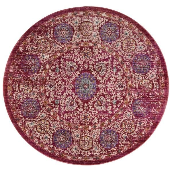 Safavieh Sutton Vintage Bohemian Fuchsia/ Ivory Polyester Rug (6' Round)