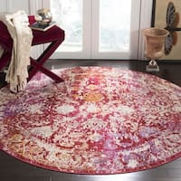 Safavieh Sutton Watercolor Fuchsia Pink/ Ivory Rug - 6' Round