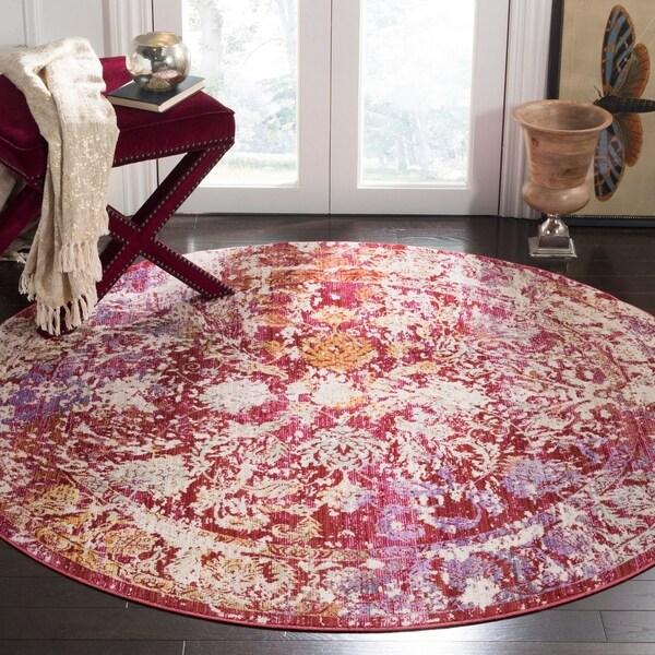 Safavieh Sutton Watercolor Fuchsia Pink/ Ivory Rug - 6' Round