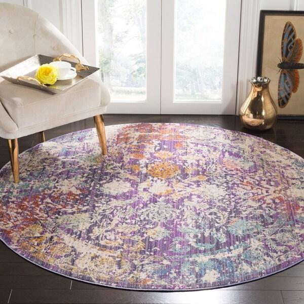 Safavieh Sutton Watercolor Lavender/ Ivory Rug - 6' Round