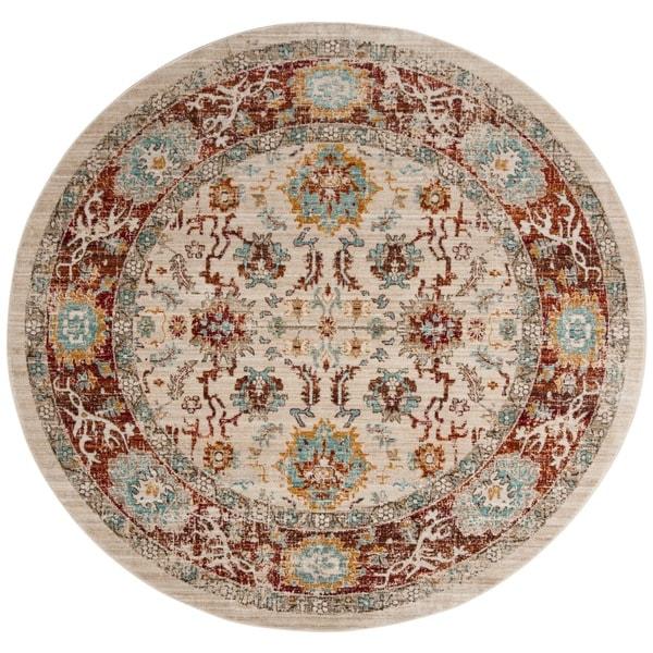 Safavieh Sutton Vintage Bohemian Ivory/ Brick Polyester Rug (6' Round)