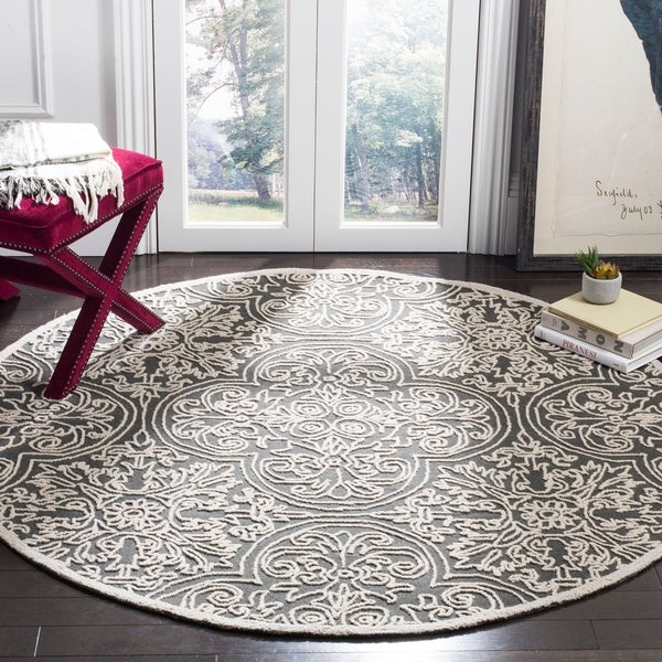 Safavieh Handmade Trace Dark Grey/ Light Grey Wool Rug - 6' x 6' Round
