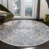 Safavieh Handmade Trace Blue/ Ivory Wool Rug - 6' Round