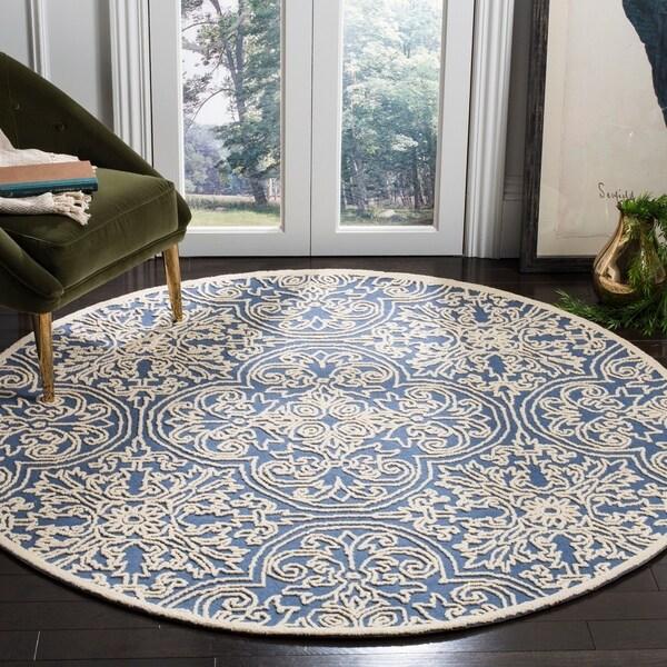 Safavieh Handmade Trace Blue/ Ivory Wool Rug - 6' x 6' Round