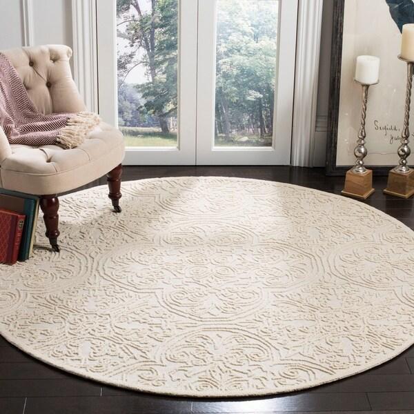 Safavieh Handmade Trace Ivory Wool Rug - 6' Round
