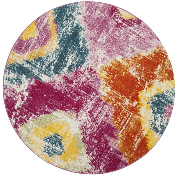 Safavieh Watercolor Fuchsia/ Orange Rug - 6'7 Round