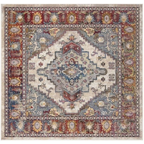 Safavieh Harmony Vintage Bohemian Light Grey/ Rose Rug (7' Square)