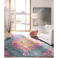 Safavieh Madison Boho Diamond Medallion Blue/ Fuchsia Rug - 6'7 Square