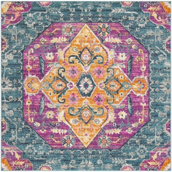 Safavieh Madison Blue/ Fuchsia Rug (6'7 Square)
