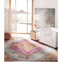 Safavieh Madison Light Grey/ Fuchsia Rug (6'7 Square)