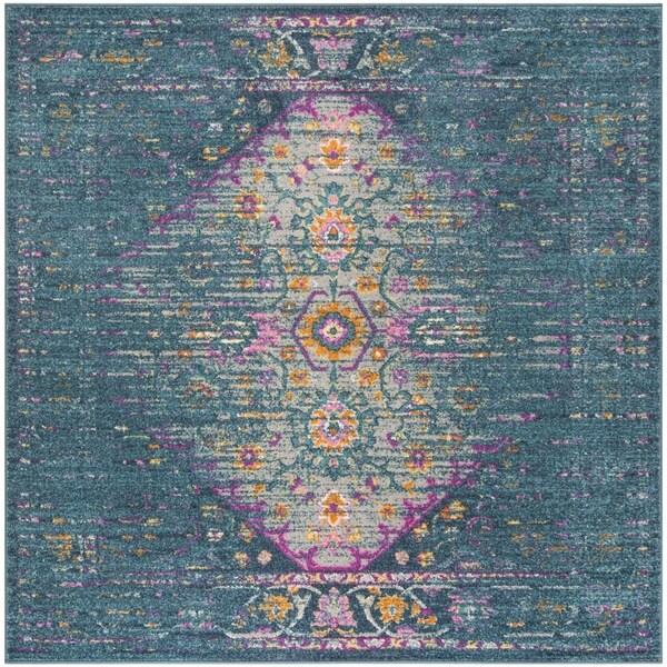 Safavieh Madison Vintage Blue/ Fuchsia Rug - 6'7 Square