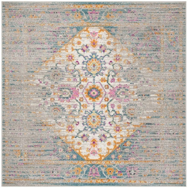 Safavieh Madison Vintage Light Grey/ Fuchsia Rug - 6'7 Square