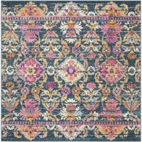Safavieh Madison Bohemian Blue/ Fuchsia Rug (6'7 Square)