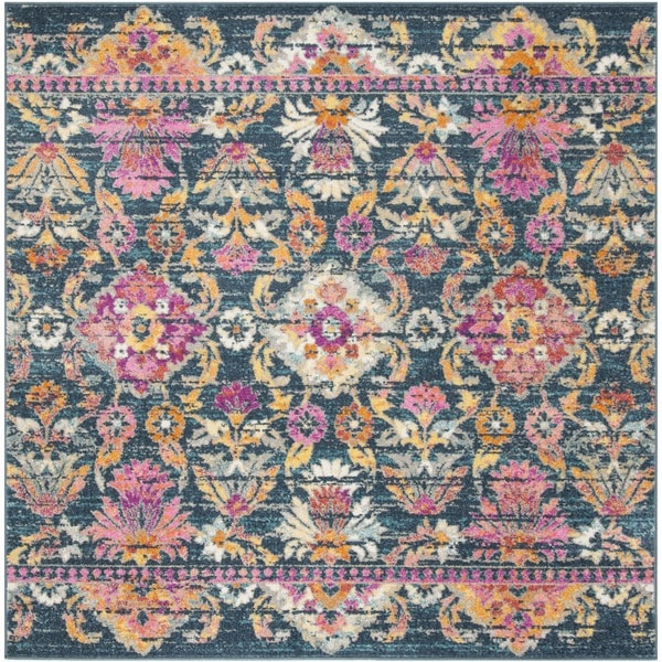 Safavieh Madison Bohemian Blue/ Fuchsia Rug - 6'7 Square