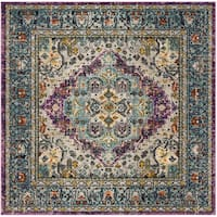 Safavieh Monaco Boho Medallion Violet/ Light Blue Distressed Square Rug - 6'7 Square