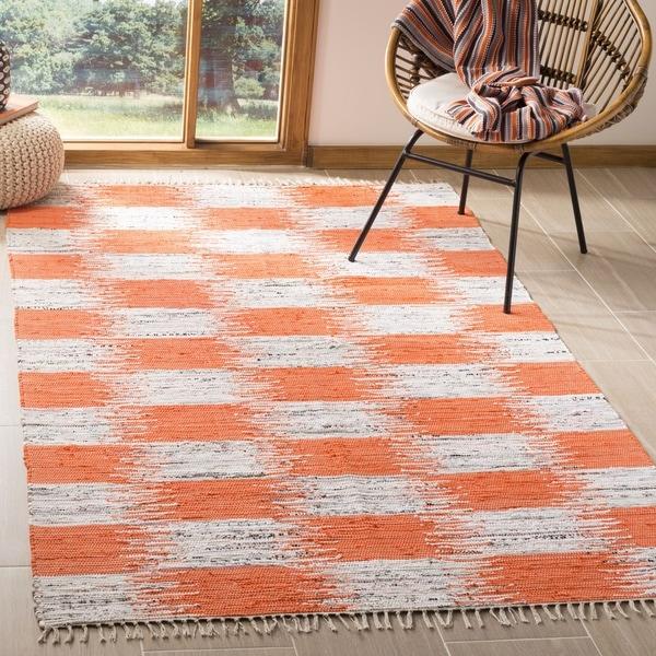 Safavieh Hand-Woven Montauk Orange/ Multi Cotton Rug - 6' Square