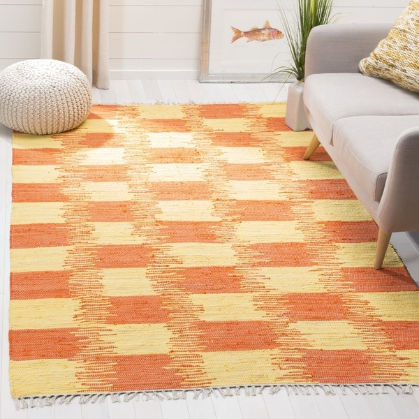 Safavieh Hand-Woven Montauk Yellow/ Orange Cotton Rug - 6' Square