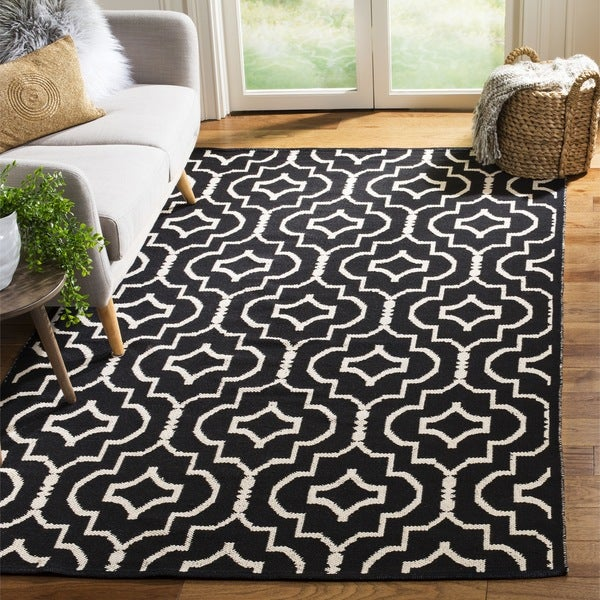 Safavieh Hand-Woven Montauk Black/ Ivory Cotton Rug - 6' Square