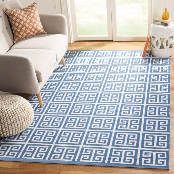 Safavieh Hand-Woven Montauk Blue/ Ivory Cotton Rug - 6' x 6' Square