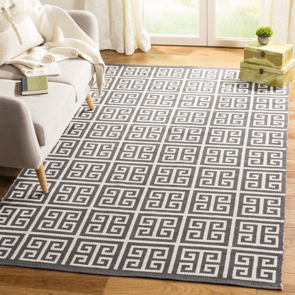 Safavieh Hand-Woven Montauk Dark Grey/ Ivory Cotton Rug - 6' Square
