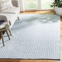 Safavieh Hand-Woven Montauk Light Blue/ Ivory Cotton Rug - 6' x 6' Square