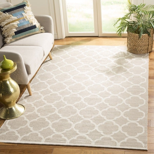 Safavieh Hand-Woven Montauk Grey/ Ivory Cotton Rug - 6' Square