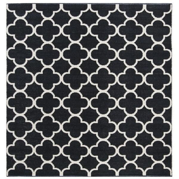 Safavieh Hand-Woven Montauk Black/ Ivory Cotton Rug - 6' x 6' Square