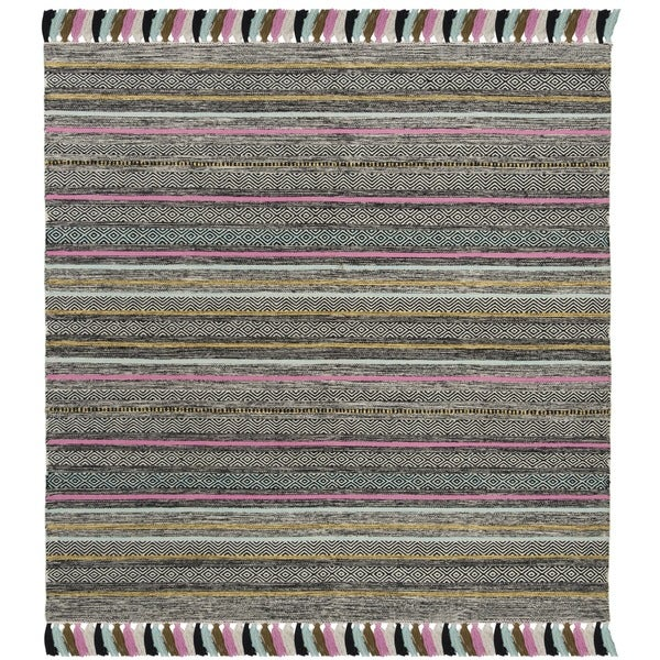 Safavieh Hand-Woven Montauk Black/ Multi Cotton Rug - 6' x 6' Square