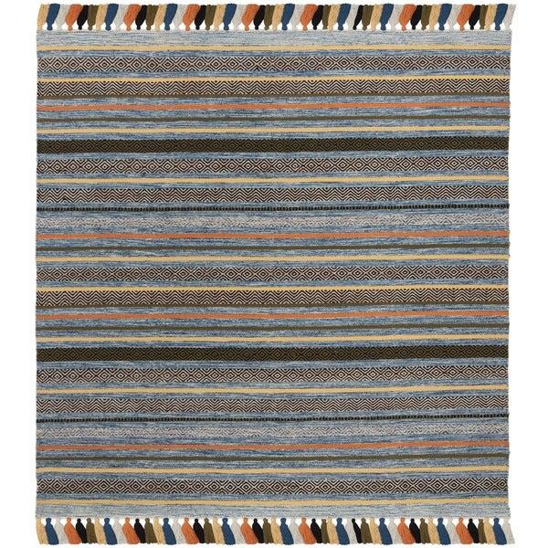 Safavieh Hand-Woven Montauk Blue/ Multi Cotton Rug (6' Square)