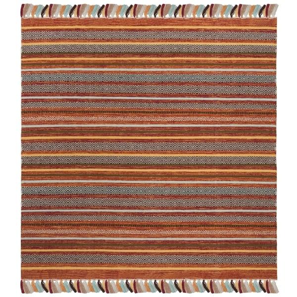 Safavieh Hand-Woven Montauk Rust/ Multi Cotton Rug - 6' x 6' Square