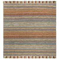 Safavieh Hand-Woven Montauk Turquoise/ Brown Cotton Tassel Area Rug - 6' X 6' Square