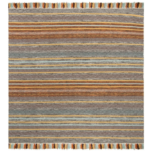 Safavieh Hand-Woven Montauk Turquoise/ Brown Cotton Rug - 6' x 6' Square