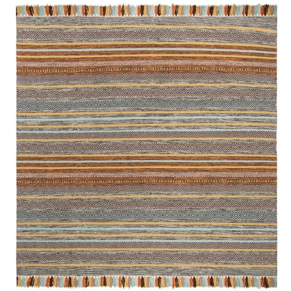 Safavieh Hand-Woven Montauk Turquoise/ Brown Cotton Rug - 6' Square