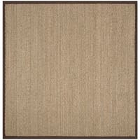 Safavieh Natural Fiber Natural/ Dark Brown Seagrass Rug - 6' Square