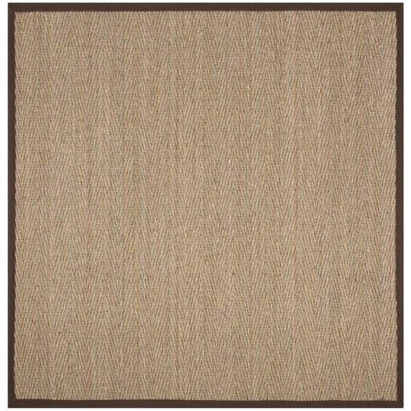 Safavieh Natural Fiber Natural/ Dark Brown Seagrass Rug - 6' x 6' Square