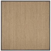 Safavieh Natural Fiber Natural/ Dark Grey Seagrass Rug - 6' Square