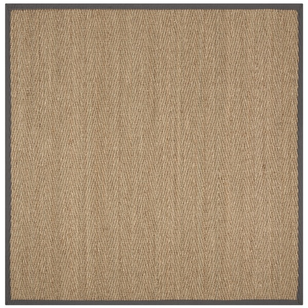 Safavieh Natural Fiber Natural/ Dark Grey Seagrass Rug - 6' Square