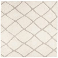 "Safavieh Olympia Shag Cream/ Beige Polyester Rug - 6'7"" x 6'7"" square"